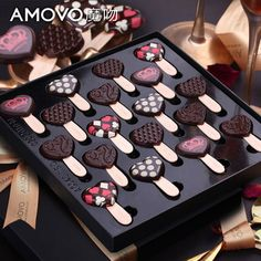 Amovo magic kiss birthday Valentine's Day creative chocolate gift box cute heart lollipop birthday gift for girlfriend Chocolate Bonbon, Chocolate Gift Boxes, Artisan Chocolate, Chocolate Sweets, Chocolate Packaging, Chocolate Shop, Chocolate Bark, Homemade Chocolate, Chocolate Lovers