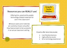 Lesson plans & activities for those who teach computer skills! Teaching Computer Skills, Computer Lab Lessons, Computer Teacher, Teaching Computers, Computer Class, Teaching Technology, Computer Technology, Educational Technology, Middle School Technology