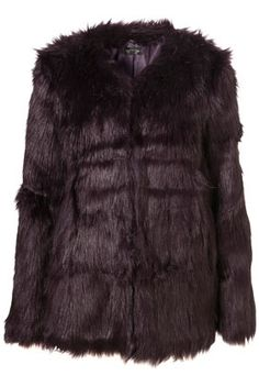 Collarless Shaggy Fur Coat - StyleSays