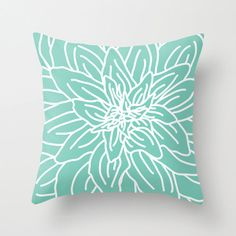 Modern Abstract Spring Flower Pillow Cover Mint by AldariHome