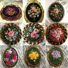 This Pin was discovered by Pra Hand Embroidery Flowers, Silk Ribbon Embroidery, Embroidery Hoop Art, Cross Stitch Embroidery, Embroidery Patterns, Brazilian Embroidery, Ribbon Work, Bead Art, Needlework