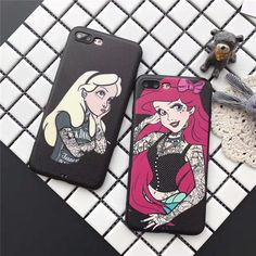 BlackFashion Mermaid Alice princess soft leather case cover for iphone 7 6S plus