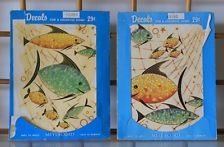 Vintage Meyercord Fish Decal Set In Package 40s 50s Bathroom Green Yellow Wall