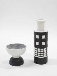 Ettore Sottsass Ceramic Vase and Footed Bowl | From a unique collection of…