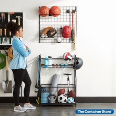 Find space for all the bats, balls, bikes, and more! Shop our Bike & Sports Storage Solutions for ideas galore! Bike Hooks, Bicycle Rack, Bike Storage, Garage Storage, Sports Equipment Storage, Sport Rack, Ski Rack, Used Bikes, Hanging Organizer