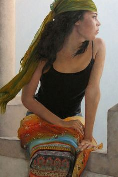 """""""Gypsy Wind"""" - Kim Dow {contemporary figurative artist beautiful female seated woman profile painting}"""
