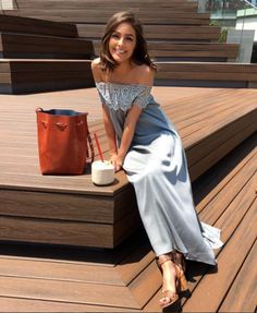 Steal her luxe celeb style | Olivia Culpo in blue lace trimmed off-the-shoulder trapeze maxi dress | The Luxe Lookbook