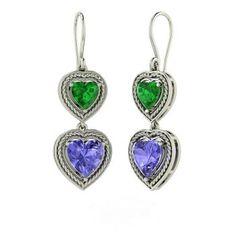 Heart-Cut Emerald Earrings in 14k White Gold with Tanzanite