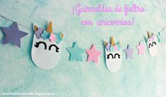 Fieltro DulcesCaramelos: Guirnalda y corona de fieltro con unicornios