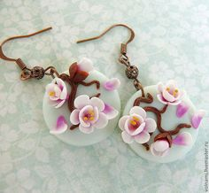 "Earrings handmade. Fair Masters - handmade. Buy ""Spring"" earrings. Handmade. Sakura flower earrings, polymer clay"