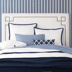 An idea for bedding decor at the barn . . . pair some simple check linens (the sheets in a check, pillow cases in a smaller check?) with a textural coverlet, a few pillows to stack in stripes, some crisp white tossed in. Classic Whites Collection in Navy   Serena & Lily