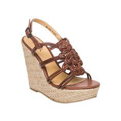 Brown leather wedge sandal