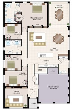 Fraser Beechwood Floorplan - love the shared areas and the mini pool that was attached to the display home. 4 Bedroom House Plans, Family House Plans, New House Plans, Dream House Plans, House Floor Plans, The Plan, How To Plan, House Layout Plans, House Layouts