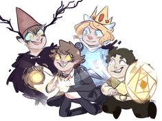 Over the garden wall, gravity falls, adventure time, and Steven universe