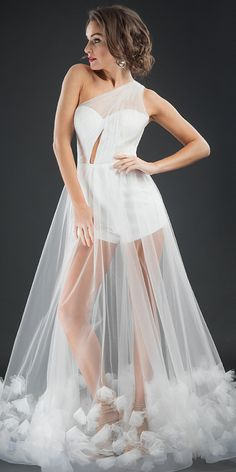 Eye-catching Tulle One-shoulder Neckline A-line Prom Dress With Handmade Flowers