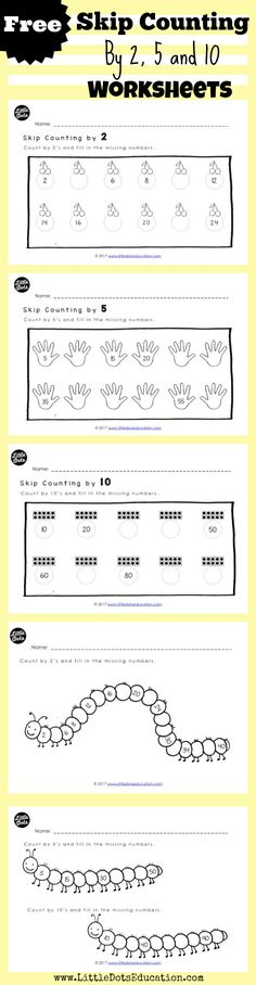 Free skip counting worksheets and activities for Kindergarten to Grade 1 level. Practice to skip count by 2, 5 and 10. Visit www.LittleDotsEducation.com for more preschool resources.