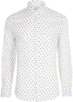 River Island Mens White feather skinny fit long sleeve shirt