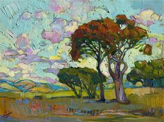 Modern expressionist oil painting landscape by Erin Hanson