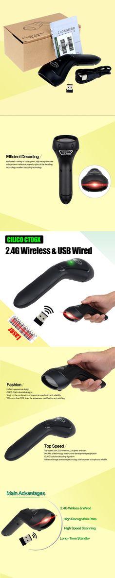CILICO CT06X 10m Range Laser Light 1D Barcode Scanner 2.4G Wireless & USB Wired Portable 1D Bar Code Scanner Reader For Windows