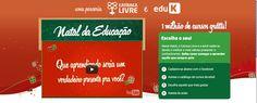 Num projeto batizado de Natal da Educação,  Catraca Livre e eduK - a maior start up de educação da América Latina, especializada em cursos online -  distribuem gratuitamente neste mês de novembro 1 milhão de acessos a cursos online