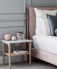 Our favourite Woodrow Bedside tables are (finally) back in stock! Add some sophistication to your bedroom with one or a pair ~ just like has done in her new home. Bed Head, Bedroom Inspo, Master Bedroom, Bed Pillows, Pillow Cases, New Homes, Velvet, Bedside Tables, Geneva