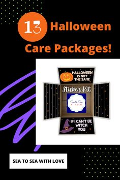 Halloween care packages are a great way to stay connected with your loved one during a military deployment. Visit here to check out hundreds of care package ideas and themes in Sea to Sea with Love's shop! If you are looking for an easy way to decorate your care package, then this is the shop for you! Get inspired to create your own DIY care package with sticker kits. You will love how easy they are to use. These are also perfect for college and long distance packages too! Long Distance Packages, Halloween Care Packages, Deployment Care Packages, Military Deployment, Halloween Fun, Etsy Seller, College, Packaging, Kit