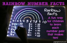 Learning Rainbow Number Facts!  :http://pagingfunmums.com/2014/11/07/learning-rainbow-number-facts/