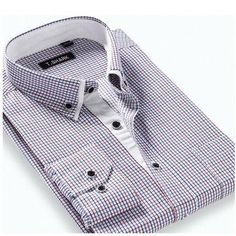 #NewChic - #NewChic Casual Business Slim Fit Long Sleeve Turn-Down Collar Striped Dress Shirts for Men - AdoreWe.com