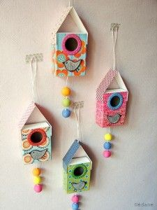 bird house craft.  Bird houses made from matchboxes.  The site is in French, but the link has photos which show how to do it.