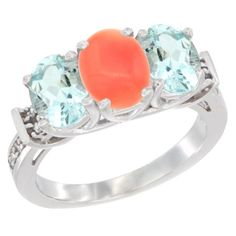 14K White Gold Natural Coral and Aquamarine Sides Ring 3-Stone Oval Diamond Accent, sizes 5 - 10 ** Wow! I love this. Check it out now! : Jewelry Ring Bands