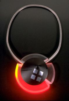 incredible necklace that lights up in metal and lucite by Karen McCreary