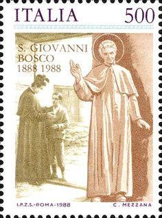 1988 - Centenario della morte di San Giovanni Bosco - San Giovanni Bosco in atto di benedire e, sullo sfondo, il Santo mentre parla ad un fanciullo, il futuro San Domenico Savio