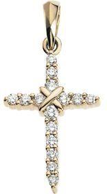 Jewelplus Diamond Cross Pendant 14K Yellow 19.00X12.00 Mm