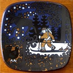 Year 1978 Arabia Kalevala Series Annual Plate No. 3 Previous Next List Kalevala motif. The picture shows Lemminkainen on his snowshoes/skis, the Elk and a black Cock of the Wood hiding in the trees. Folk Fashion, In The Tree, Scandinavian Style, Finland, Dinnerware, Stoneware, Pottery, Sweet, Ceramic Pottery