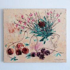 油絵 F10号 53センチ×45.5センチ額なしお花と果実。イラスト的な絵に仕上げてみました。|ハンドメイド、手作り、手仕事品の通販・販売・購入ならCreema。