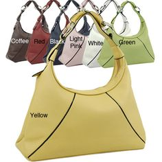@Overstock.com.com - Dasein Ring Accent Zippered Fabric-lined Faux-leather Hobo Bag - Carry all of your essentials without sacrificing your sense of style with this cheerful hobo bag. The strap is long enough for slipping over your shoulder. The interior of the bag includes two interior pockets to keep your phone and wallet at hand.  http://www.overstock.com/Clothing-Shoes/Dasein-Ring-Accent-Zippered-Fabric-lined-Faux-leather-Hobo-Bag/6811432/product.html?CID=214117 $29.23