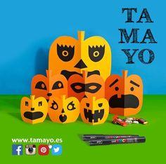 Unas cartulinas naranjas unos rotus #posca de #tamayopapeleria en c/Legazpi 4 #Donostia #SanSebastian unas tijeras un poco de imaginación y decoración de #halloween lista para esta noche. Tu pones los caramelos Truco o trato?