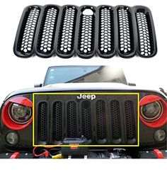 u-Box Black Front Grill Mesh Grille Insert with Key hood lock for Jeep Wrangler Jk Rubicon Sahara & Unlimited 2007-2016 - 7 Pieces -- Awesome products selected by Anna Churchill