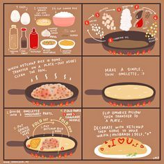 - Food Painting - Every otaku knows that when it comes to food, omurice is one of the surefire way. Every otaku knows that when it comes to food, omurice is one of the surefire ways to get to your waifu's/husbando's heart. Food Illustrations, Korean Food, Japanese Food, Japanese Recipes, Japanese Omelet, Asian Recipes, Love Food, Food To Make, Food Porn