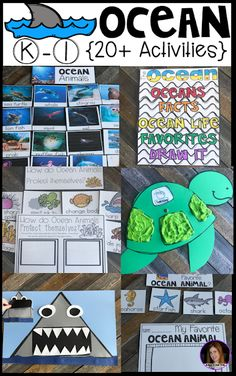 Ocean {20  Activities} for Kindergarten.  Ocean Activities for Kindergarten is perfect for your spring themes. This unit is based around essential questions with vocabulary cards with real pictures, anchor charts to reinforce concepts, labels for sorting, observations, writing and fun hands on craftivities that students will love!  You will find everything you need for a complete ocean unit!