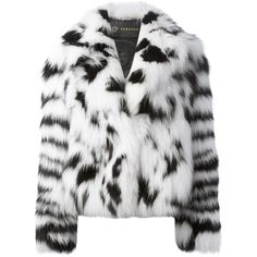 VERSACE fox fur jacket (€19.775) ❤ liked on Polyvore featuring outerwear, jackets, fur, coats, coats & jackets, shawl collar jacket, black white jacket, black and white jacket, long sleeve jacket and versace