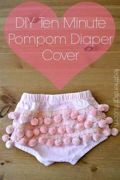 One more sewing project…because how adorable is this pompom-covered diaper cover?