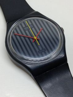 Vintage Swatch Watch Pinstripe GA102 1985 by ThatIsSoFunny on Etsy