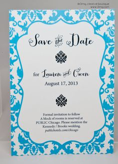 Wedding Save the Date  Formal Brocade  Vows by r3mg   by r3mg, $20.00