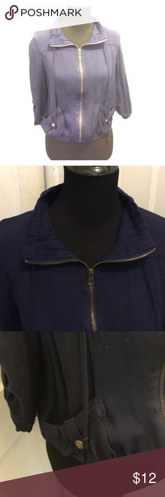 Navy jacket Navy zip up jacket. Pockets. 3/4 sleeves. Jackets & Coats