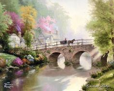 New 1000 pieces Jigsaw Puzzle Sealed in Box- Hometown bridge by Thomas Kinkade