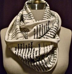 Classic Story Infinity Scarf from Library of Congress. You can pick either Jane Eyre or Pride and Prejudice