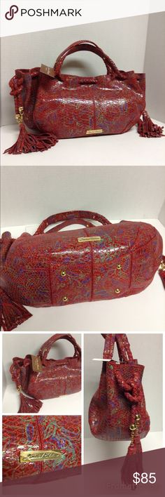 """Sharon Gioe Italian Collection Handbag Sharon Gioe Italian Collection Handbag """"La Gioe Di Toscana """" new never used measures approx 15 1/2"""" x 8 1/2""""  with adjustable tassel strap in a red leather with multi color  paisley print with bonus wallet and attached coin purse. Sharon Gioe  Bags Shoulder Bags"""