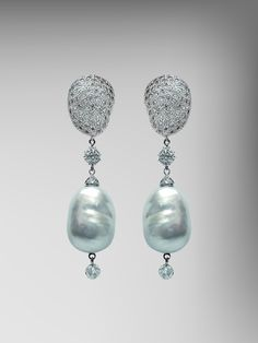 """The """"pillow shape"""" captured; Baroque Diamond Earring Tops mirror the perfectly shaped Baroque Pearl Pendants."""
