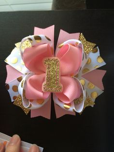 Trendy pink and gold birthday hair bow